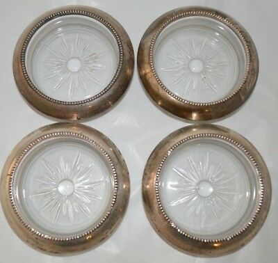 Set Of (4) Frank M. Whiting & Co. Sterling Silver and Glass Coasters