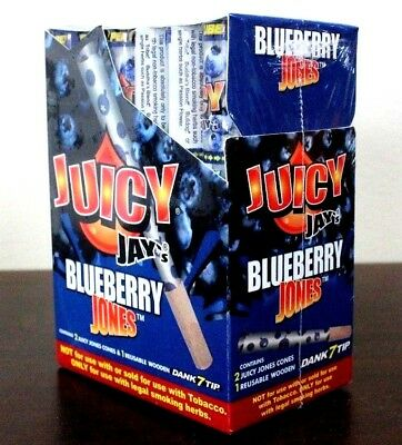 Juicy Jay's Jones Pre-Rolled Cones 24 Pack~Blueberry~Full Box~Sealed