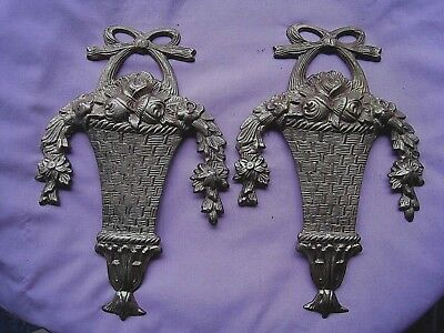 Solid Brass Wall Hangers/Furniture Decoration.....Basket w/Flowers...pair of 2