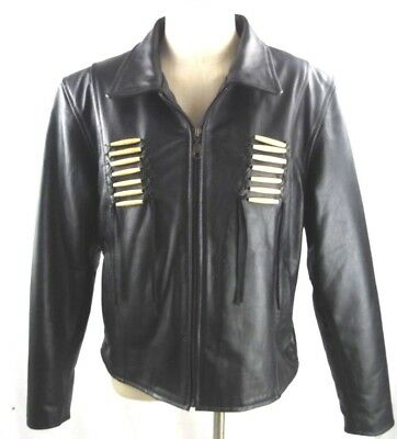 Black Leather Women's MOTORCYCLE JACKET - Western Native American Trim Size 16