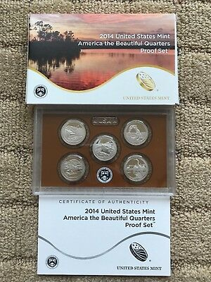 2014 - S America the Beautiful Five Coin Clad Proof Set in US Mint Box with COA