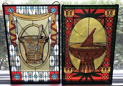 Stained Glass Design Pharmacy Hanging Window Panel Set Mortar Pestle Apothecary