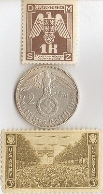 -*WWII - *us  and  *german  coins / stamp+..