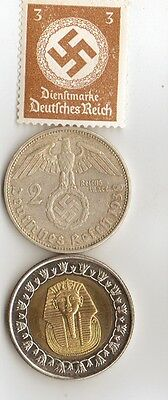 """-*WWII - *german  coin / stamp with *egyp. """"king  TUT coin"""
