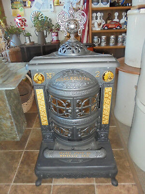 Vintage Cast Iron Parlor Stove Restored Burns Wood Coal