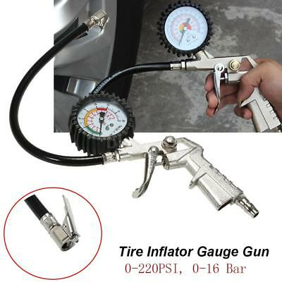 220PSI Tire Tyre Inflator Auto Car Vehicle Air Compressor Pressure Gauge Gun
