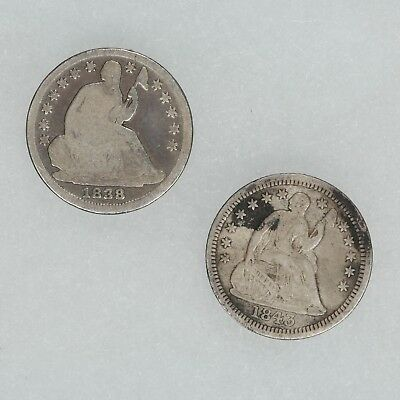 1838 1843 Seated Liberty Half Dime G Good Xf Extra Fine Details 2 Coin Lot (5645