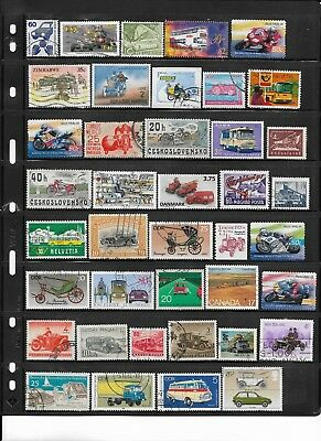 92 Different Used Worldwide Topical Vehicles Stamps