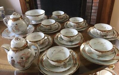 A 29 Piece Signed Antique Japanese Eggshell Tea Set