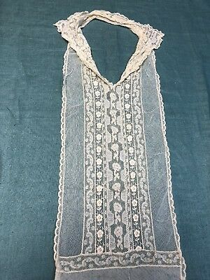 Antique Mixed Lace Collar with Attached Yoke Embroidered Net Lace French Lace