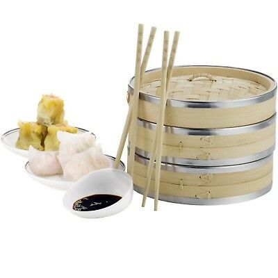 """Authentic Bamboo Steamer 8"""" 2 Tier Chinese Rice Cooker Vegetables Inc Chopsticks"""