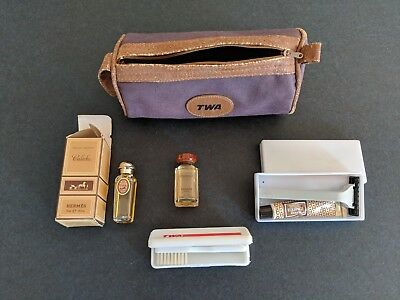 Rare Vintage Hermes / Twa Mens Toiletry Bag -  For The Aviation Collector!