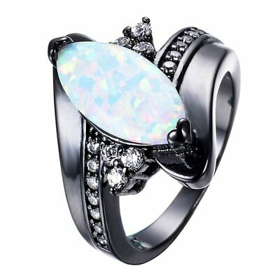 Fashion Rainbow Fire Opal Ring Black Gold Filled Wedding Engagement Horse E A4W2