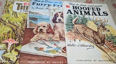 Vintage 3 Book Lot of How to Draw, Paint, or Color Animals and Scenery  Read!