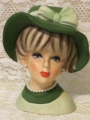 Vintage Napcoware Lady Head Vase #C7494 Green Dress/Hat - Orig Jewelry 5 1/2 ""