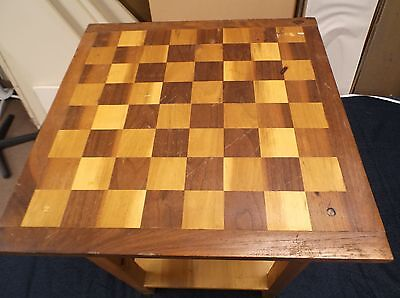 """Handmade Handcrafted Wooden Solid Checkerboard Table - Well Used - 23"""" Tall"""