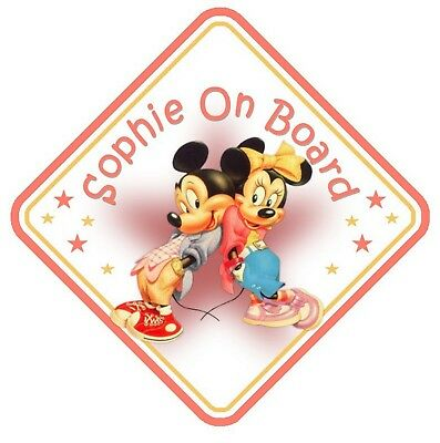 Mickey & Minnie Mouse Personalised Car Window Sign - Baby On Board