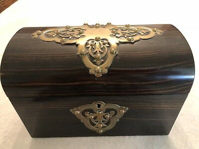 Antique 1800's Tea Caddy - Small Domed Wood Divided Box  & Brass Accent