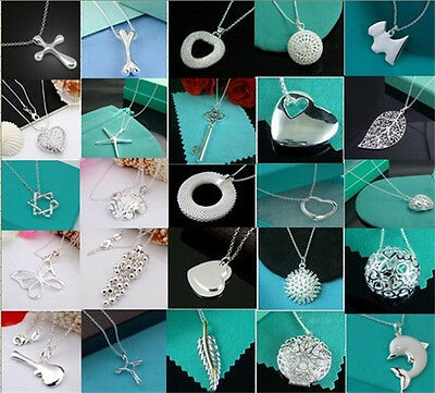 Wholesale New Ladys Womens Jewelry 925Silver Pendant Necklace Chain  Gifts