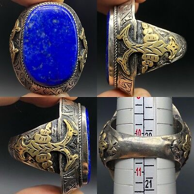 Lapis Lazuli Stone Mix Silver Gold Gilded  Medieval Antique Ring