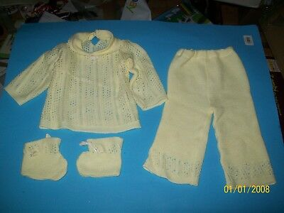 FITS CABBAGE PATCH SOFT SCULPTURE BABY doll CLOTHES YELLOW KNIT
