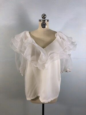 Vintage 80s Organdy White Ruffles 3/4 Sleeve Evening Blouse   sz M L
