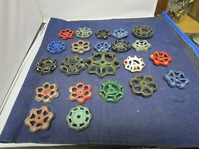 Vintage Water Valve Handles Crafts Differnt Sizes Colors And Condition 22