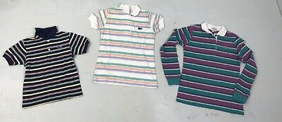 Vintage Unisex Izod Shirts Lot 70s 80s Boys Girls Striped Knit Made Japan  sz M