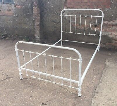 """Petite French White Iron Small Double Bed 4ft 2"""" FREE UK DELIVERY"""