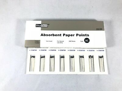 DIADENT Absorbent Paper Points Color Coded & Sterilized 200/Pack Cell Pack
