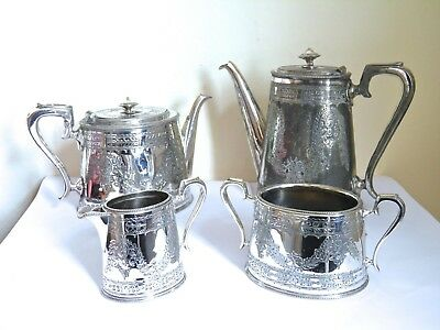 Antique Silver Plated Pretty Chased 4 Piece Tea Set William Hutton Sheffield