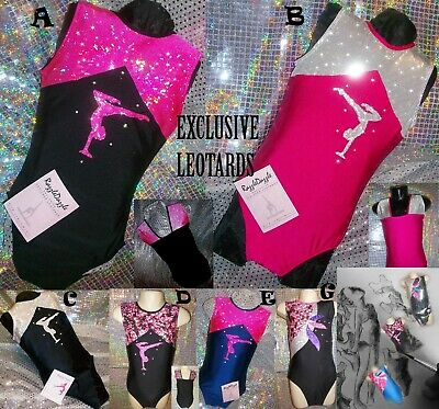 Gymnastics Leotard Black Dance Sparkly Pink Girls Tap Sleeveless Razzledazzle UK