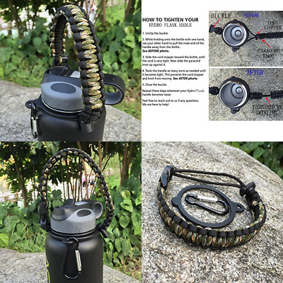Handle For Hydro Flask Paracord Survival Strap W Security Ring Wide Mouth Water
