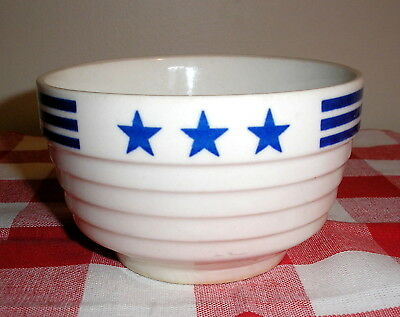 "Vintage Hall Blue Stars And Stripes Patriotic 4 7/8"" Soup Bowl"