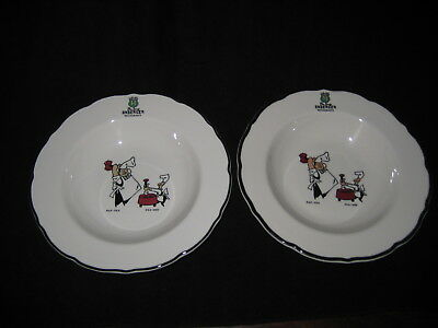 """2 pc Pea Soup Andersen Restaurant rimmed Bowl Syracuse China USA 9 1/4"""" x 1 3/4"""""""