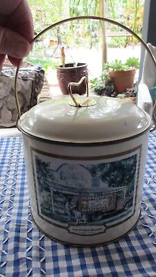Vintage Biscuit Tin with Handle & Gordon Hanley Prints around the outside