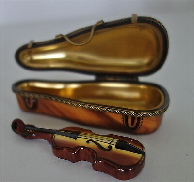 Vintage Limoges Porcelain Violin & Case Hinged  Box