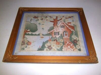 Antique Vtg Hand Embroidered Chenille Picture Framed Cottage Whimsical 1930's