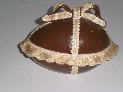 Vintage faux chocolate Easter Egg two piece Trinket Box BIG Lace trim/bow