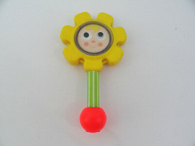 "Fisher Price 424 Yellow Flower Rattle 1973 Baby Toy w Mirror 7.5"" Vtg Red Handle"