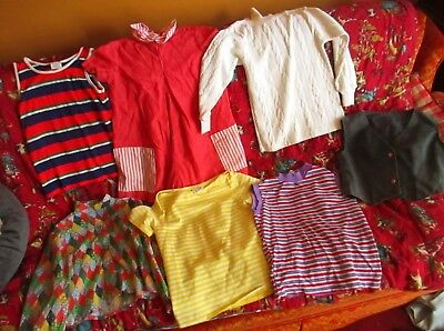 Lot 7 True Vtg 70s GIRLS Sz 10-12 Frock Hippy Mod Tops Vest Knit T-shirt Shirts