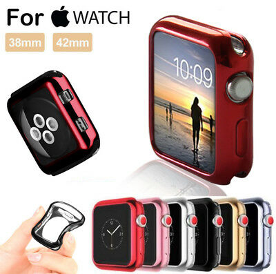 For Apple Watch iWatch 38/42/40/44mm Plating Soft TPU Protect Bumper Case Cover