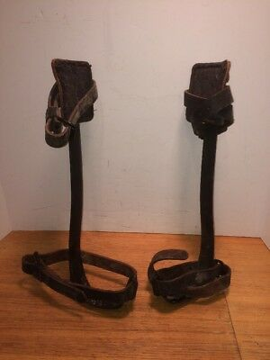 "Vintage Buckingham Steel Pole Climbers LC-6 / 16 1/2"" w/ Leather straps & pads"