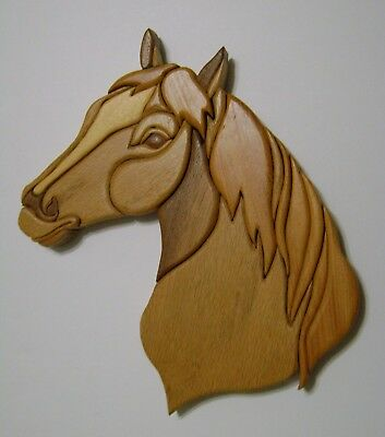 Hand Carved Wood Horse Head Equestrian Art Wall Plaque Cut Outs Intarsia Large