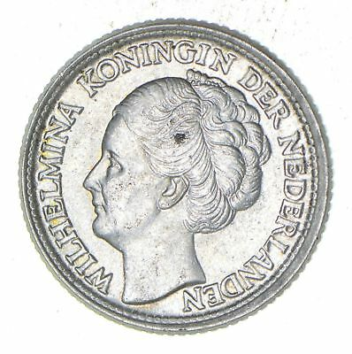 Roughly Size of Dime - 1944 Netherlands 25 Cents - World Silver Coin *673
