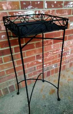 Vintage Patio Table Plant Stand Black Wrought Iron Wicker Top 12x30