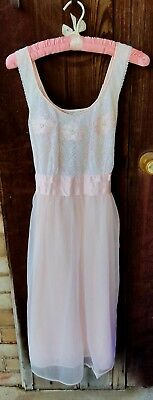 Vtg Pale Pink Negligee Night Gown Lace Satin Nylon Tricot Double Layer Size 34
