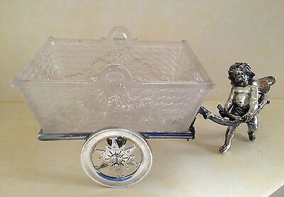 Antique Silverplate Figural Cherub Pulling Cart with Glass Bowl - Rare