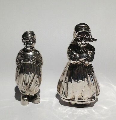 Antique Sterling Silver Dutch Girl and Boy Salt & Pepper Shakers