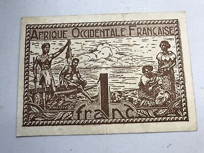 1944 French West Africa 1 Franc world paper money good condition
